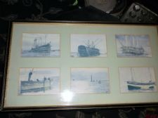 VINTAGE FRAMED 6 SMALL SHIPPING PRINTS SET BLUE HUES PARKER GALLERY LONDON #2